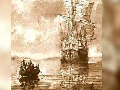 Grabado del 'Oriflama' antes de ser abordado por los marineros del 'Gallardo'.