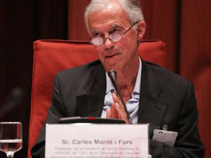 Carles Manté durante su comparecencia ante la comisión de Sanidad del Parlament.