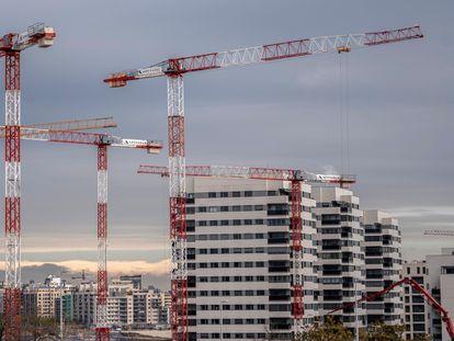Construcción de viviendas en Madrid, este mes.