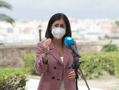 La ministra de Sanidad, Carolina Darias, este jueves en Mahón.
