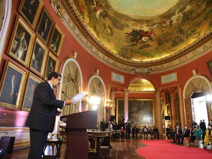 El presidente de Venezuela, Nicolás Maduro, habla a miembros de la Asamblea Nacional Constituyente en el Palacio Legislativo, en Caracas el 29 de septiembre pasado.