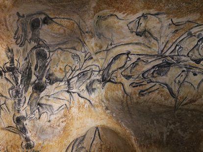 Panel de los leones de las cavernas en la cueva de Chauvet (Francia).