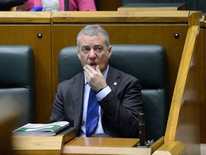 El lehendakari Urkullu, hoy en el pleno del Parlamento.