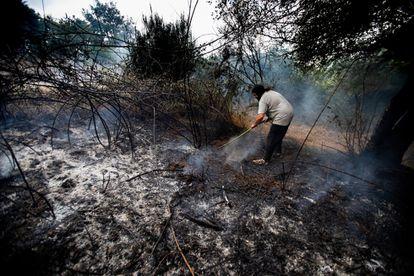 Una mujer intenta apagar los restos del incendio en Ourense.