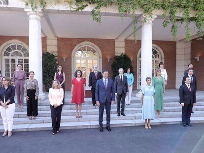 Foto de familia del Gobierno tras la última remodelación, el pasado mes de julio en La Moncloa.