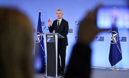 El secretario general de la OTAN, Jens Stoltenberg, en una rueda de prensa el pasado febrero, en Bruselas.