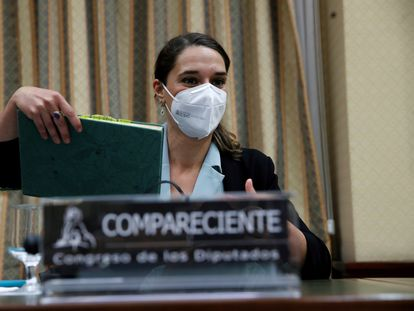 La secretaria de Estado de Igualdad y Contra la Violencia de Género, Noelia Vera, el 25 de mayo en la comisión de Igualdad del Congreso.