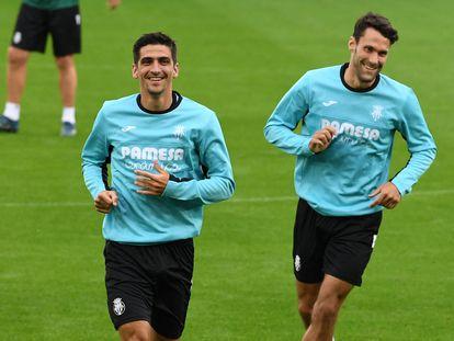 Gerard Moreno, este martes en Belfast en el entrenamiento previo a la Supercopa de Eurocopa contra el Chelsea.