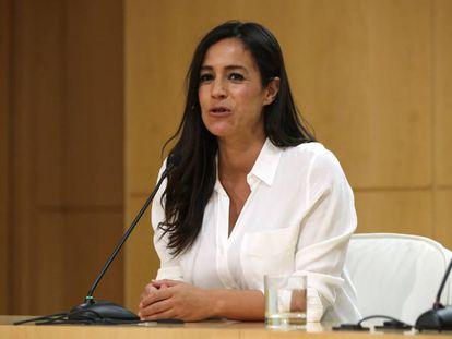 La vicealcaldesa de Madrid, Begoña Villacís, durante la rueda de prensa tras la primera junta de gobierno.