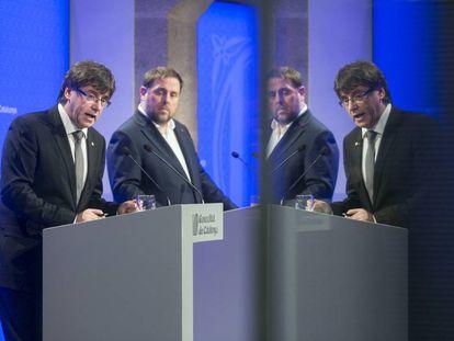 Carles Puigdemont y Oriol Junqueras anuncian el nuevo Gobierno.