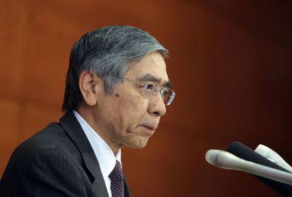 Haruhiko Kuroda, gobernador del Banco de Japón, en la rueda de prensa.