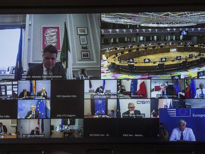 Videoconferencia del Eurogrupo de este jueves.