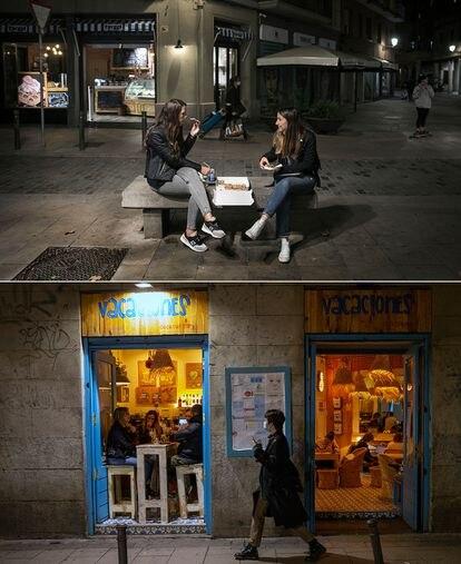 Dos vecinas comen una pizza en un banco de la Rambla del Born de Barcelona. Abajo, bar de copas abierto en el centro de Madrid.