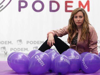 María Teresa Pérez, en la sede de Podemos en Valencia.