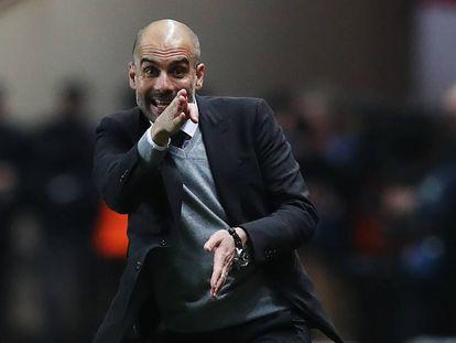 Pep Guardiola, durante el partido en que el Manchester City cayó eliminado contra el Mónaco.