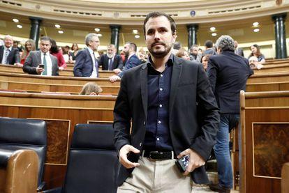 Alberto Garzón, que según fuentes de la negociación será ministro de Consumo, el pasado martes en el Congreso.