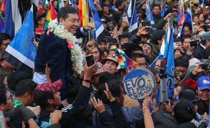 El candidato del Movimiento al Socialismo, Luis Arce, este lunes.
