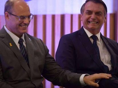 El gobernador Wilson Witzel y el presidente Bolsonaro en Río.