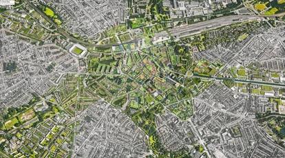 """""""El centro de Eindhoven está dominado por el tráfico de coches, solo el 7,3 por ciento de la superficie de la ciudad es verde"""", dice Maas."""