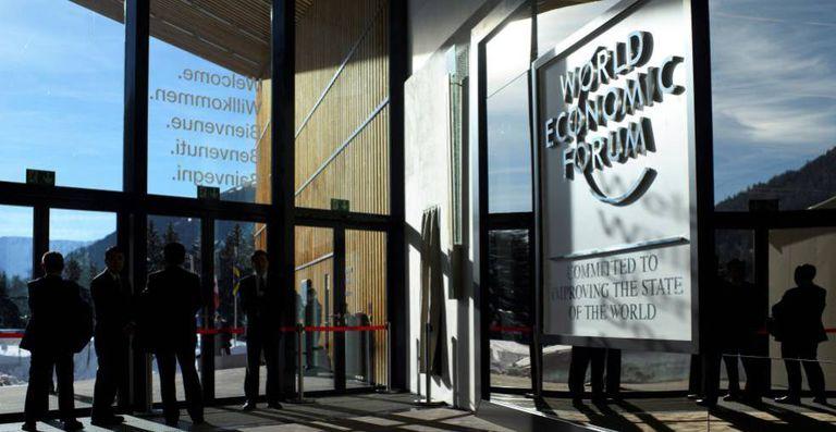Directivos, en la última reunión presencial del Foro Económico Mundial, en Davos (Suiza).
