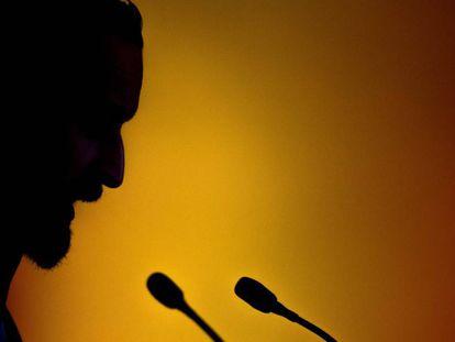 El líder de Vox, Santiago Abascal, durante la campaña electoral andaluza.