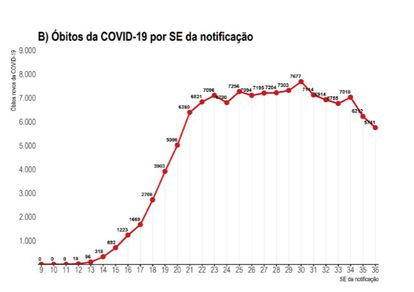 El gráfico del Ministerio de Sanidad muestra una disminución de la media de muertes en las dos últimas semanas epidemiológicas.