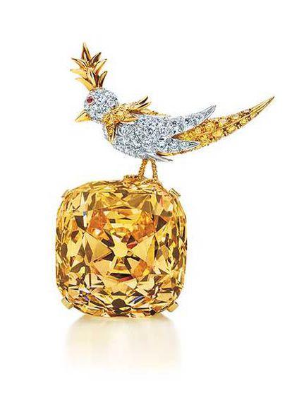 <i>Diamante Tiffany</i> de 128,54 quilates, en la pieza realizada por Jean Schlumberger <i>Bird on A Rock</i>.