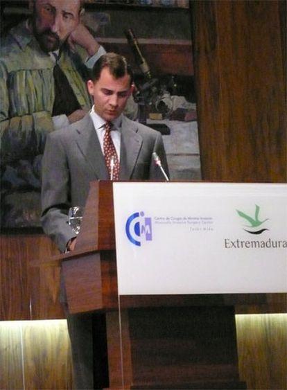 El príncipe Felipe, durante su intervención