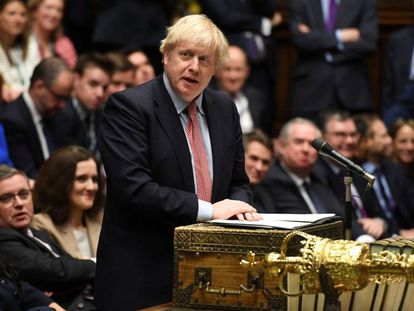 El primer ministro británico, Boris Johnson, este martes en el Parlamento.