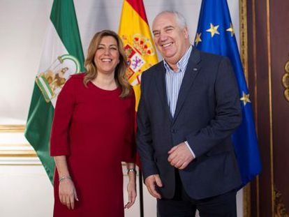 Susana Díaz y Francisco Carbonero, este viernes en la Presidencia de la Junta.