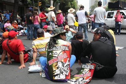 Profesores de la CNTE, en una protesta.