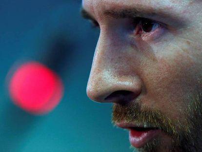 Leo Messi, durante su rueda de prensa