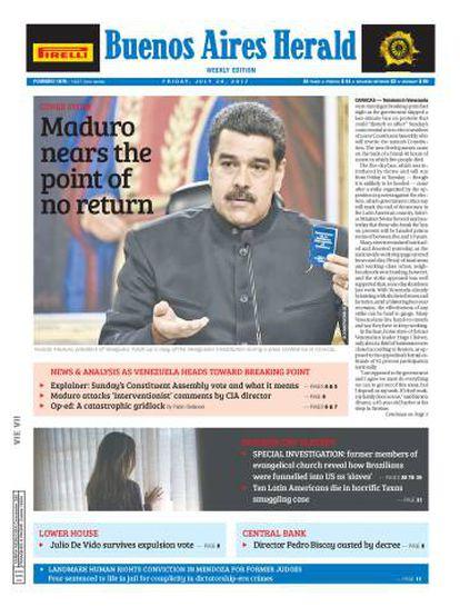 Última portada del diario Buenos Aires Herald.