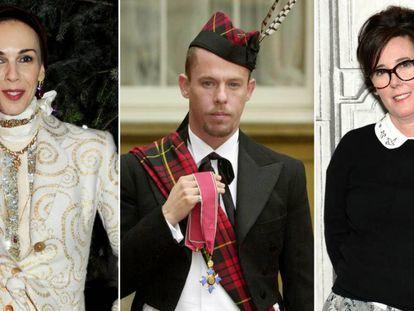 De izquierda a derecha, los diseñadores de moda L'Wren Scott, Alexander McQueen y Kate Spade.