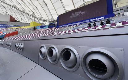 Salidas de aire acondicionado en el estadio de Doha.