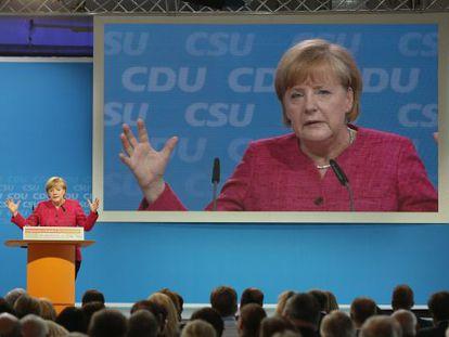 Merkel presenta el programa de la CDU en Berlín.