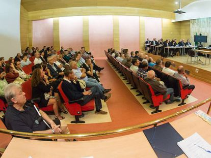 Vista del salón de actos donde se celebra el juicio del 'caso Alhambra'.