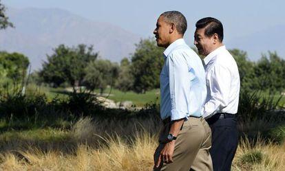 Barack Obama y Xi Jinping, en Sunnylands.