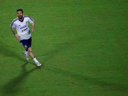 Messi, en un entrenamiento.
