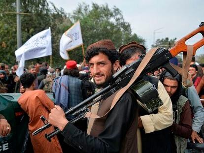 Talibanes en Kabul, el pasado 31 de agosto.