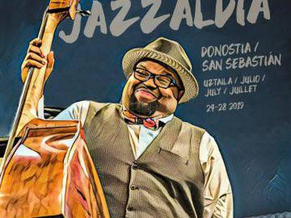 Cartel del 54º festival Jazzaldia de San Sebastián, con el contrabajista Jahmal Nichols.
