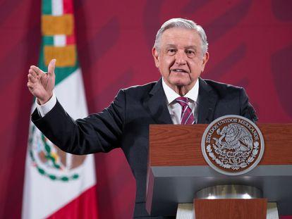 El presidente de México, Andrés Manuel López Obrador, en una rueda de prensa este lunes en el Palacio Nacional de Ciudad de México.