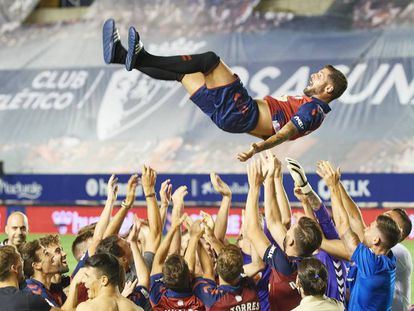 Celebración de los jugadores del CA Osasuna durante el último encuentro de la pasada temporada.