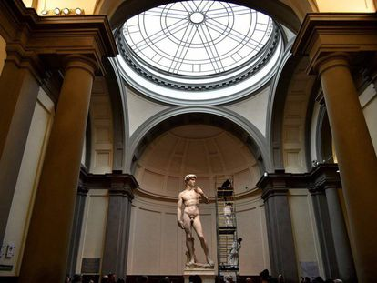 Restauración del 'David' de Miguel Ángel, en febrero de 2016.