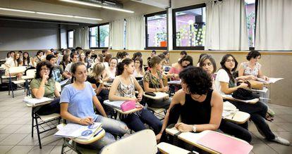 Alumnos en el Campus UB del recinto de Mundet.