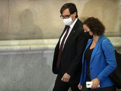 El presidente del grupo parlamentario del PSC, Salvador Illa, junto a su portavoz, Alicia Romero.