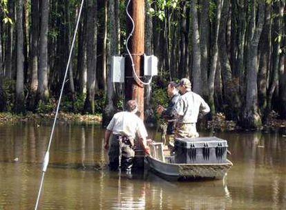 Instalaciones de cámaras en una zona pantanosa de Tejas.