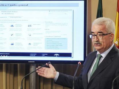 Manuel Jiménez Barrios, durante la presentación del Portal de la Transparencia.
