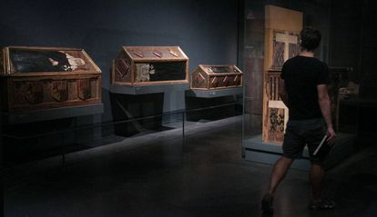 Tres de las piezas conservadas en el Museo de Lleida del monasterio de Sijena.