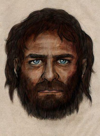 Ilustración del cazador recolector cuyos restos fueron descubierto en La Braña (León), de hace unos 7.000 años.